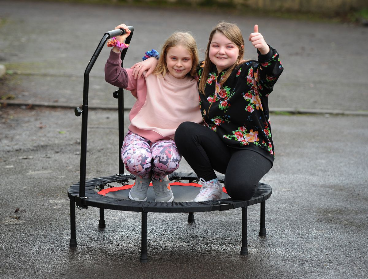 Ready for the sponsored bounce, Lyra Causer-Gough, nine, with Florence Crowther, 10