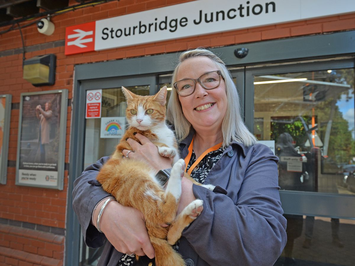 George the station cat and Stourbridge Junction station manager Simone Carter are looking for your votes to become the World Cup of Stations winner