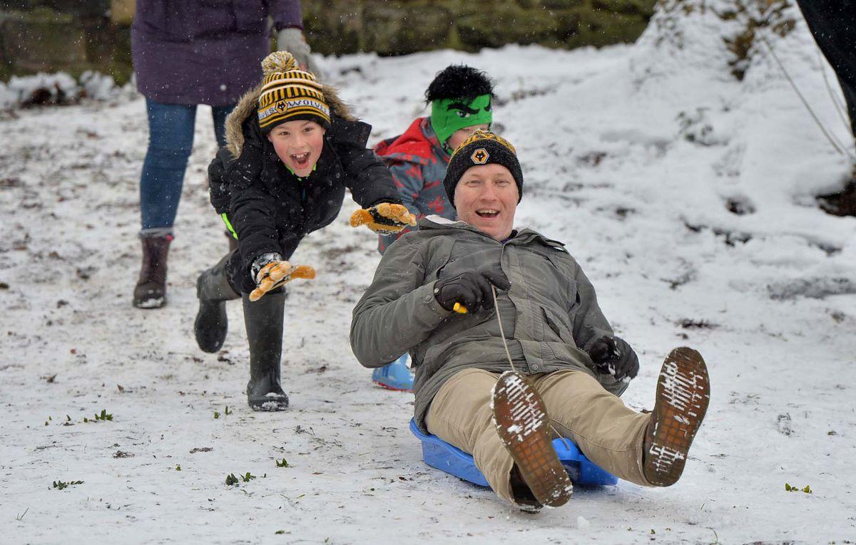 Sledgers enjoying the snow in Tettenhall