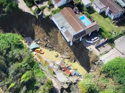 House that had been left teetering over edge after cliff collapse falls
