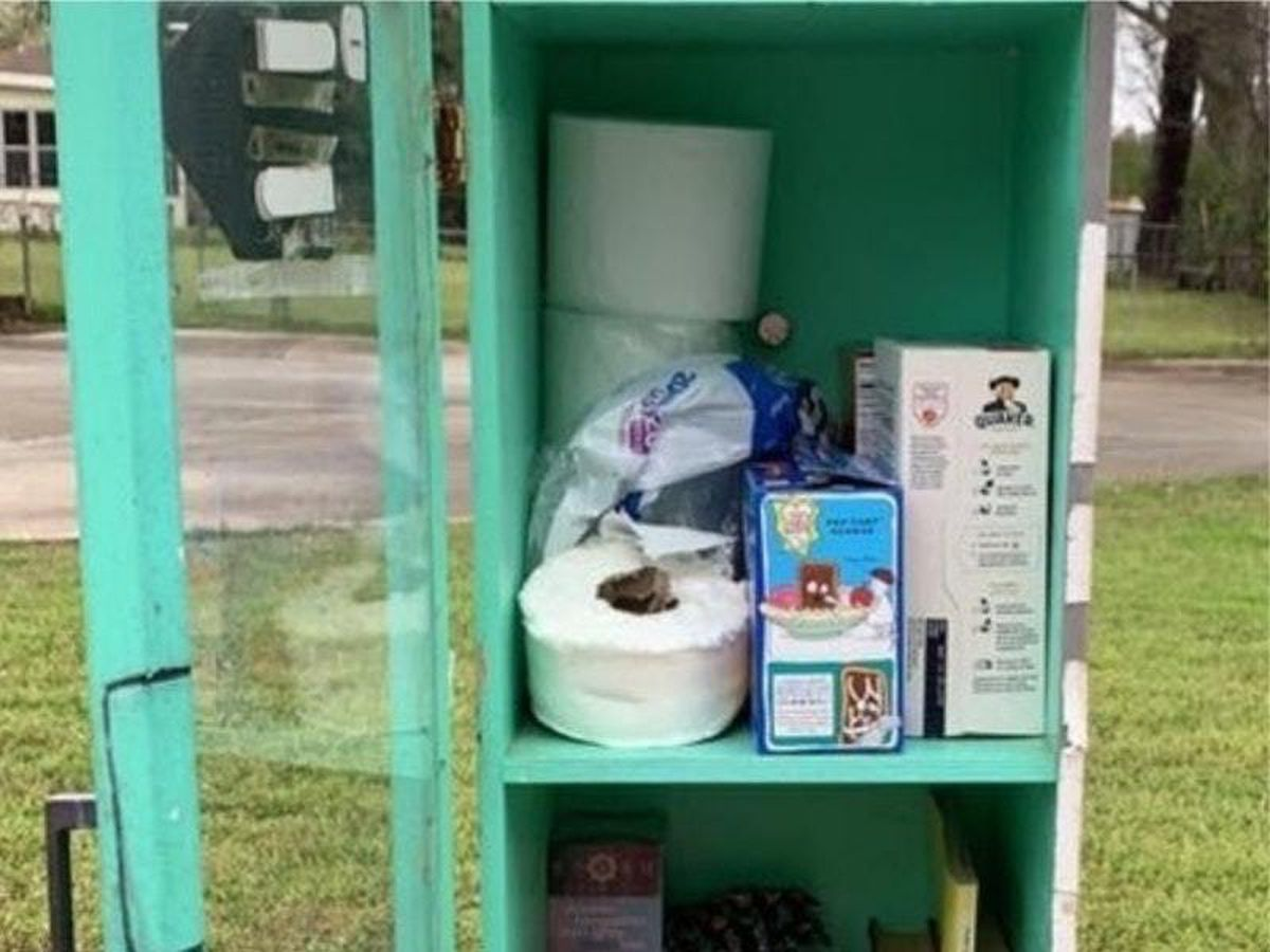 Outdoor library converted into food bank