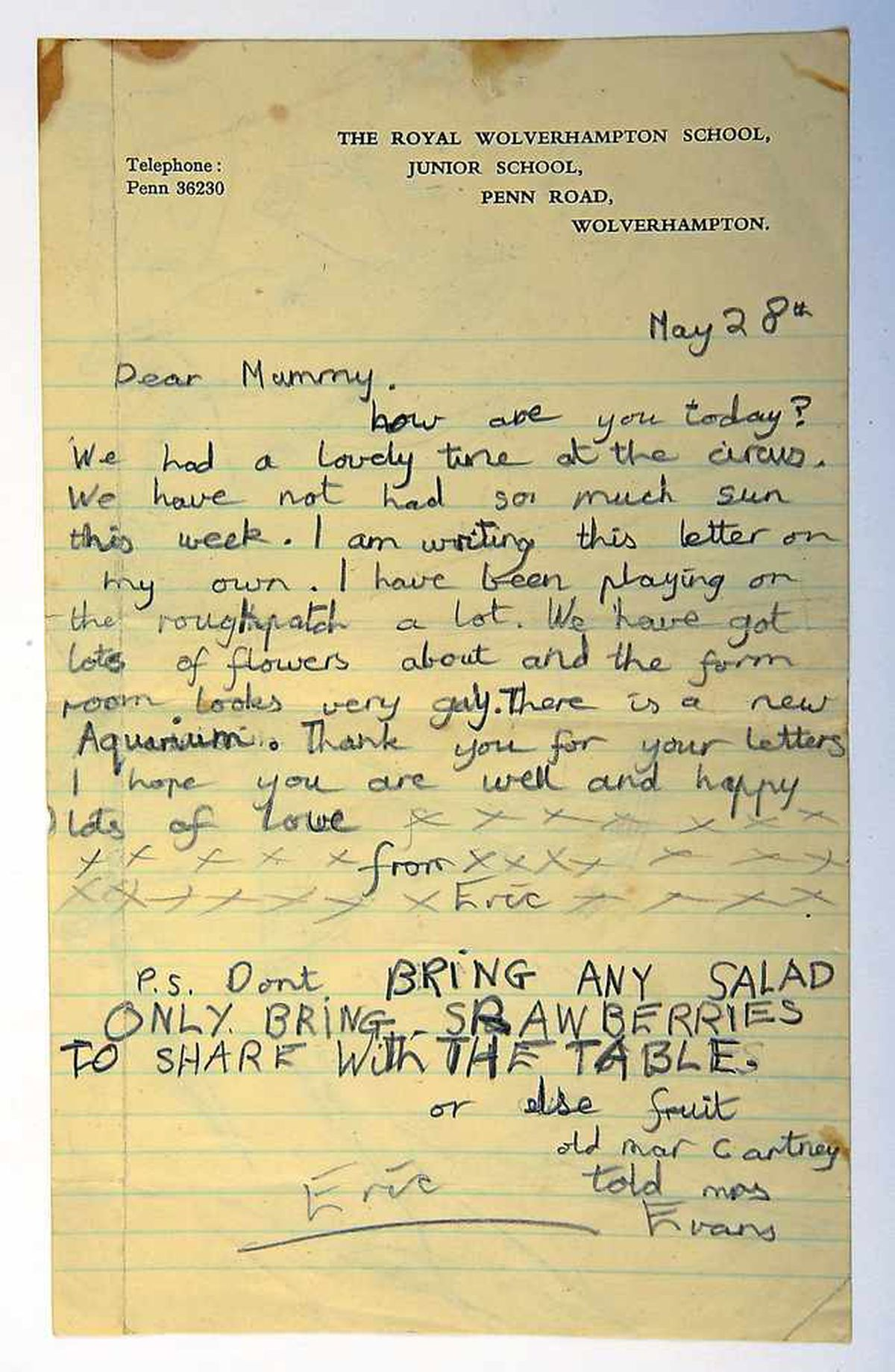 A letter to his mother from his time at the school