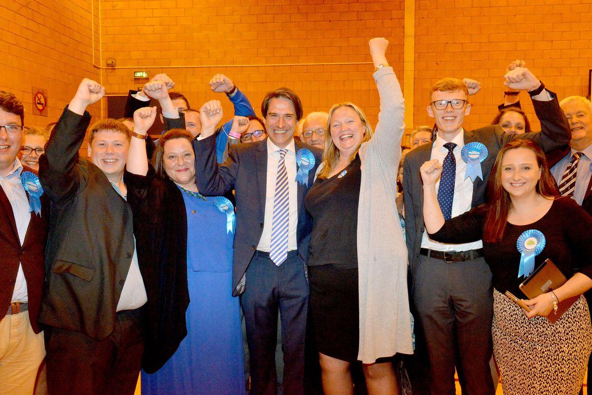 James Morris celebrates retaining his Halesowen and Rowley Regis seat