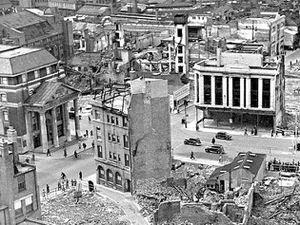 This is a special crop of a picture of the Coventry Blitz to highlight the building far left with pillars, which was a bank and still stands. PICTURE CAPTION: The aftermath of the Blitz on Coventry. Were Wellington firefighters sent to the scene?..nostalgia pic. Coventry. Aftermath of the Blitz on Coventry, November 1940. Coventry bombing. Library code: Coventry nostalgia 2011..