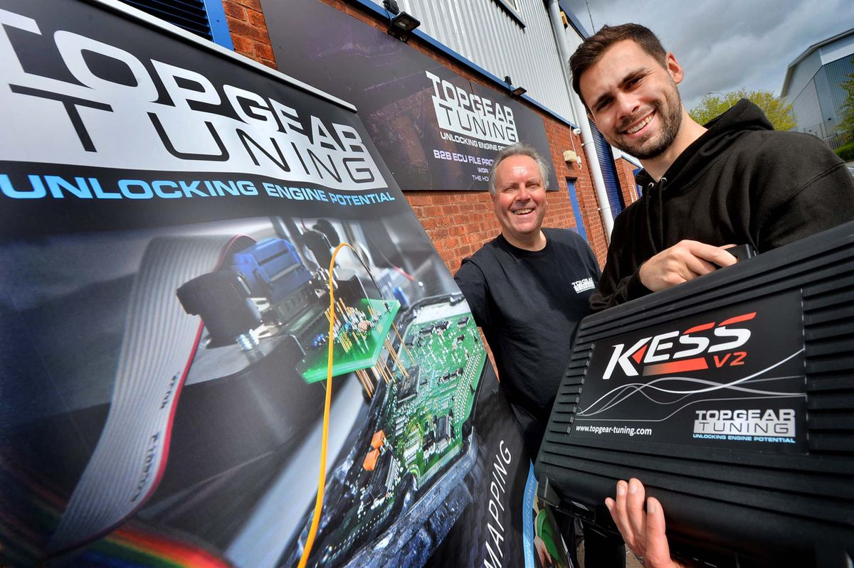 Tony & Daniel Kirk of Top Gear Tuning, which has donated £1,500 to Compton Care