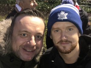 Stourbridge FC fan Chris Smith with Mikey North, who starred as Gary Windass in Coronation Street.