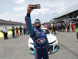 Driver Bubba Wallace was given support by his fellow drivers at Talladega Superspeedway on Monday