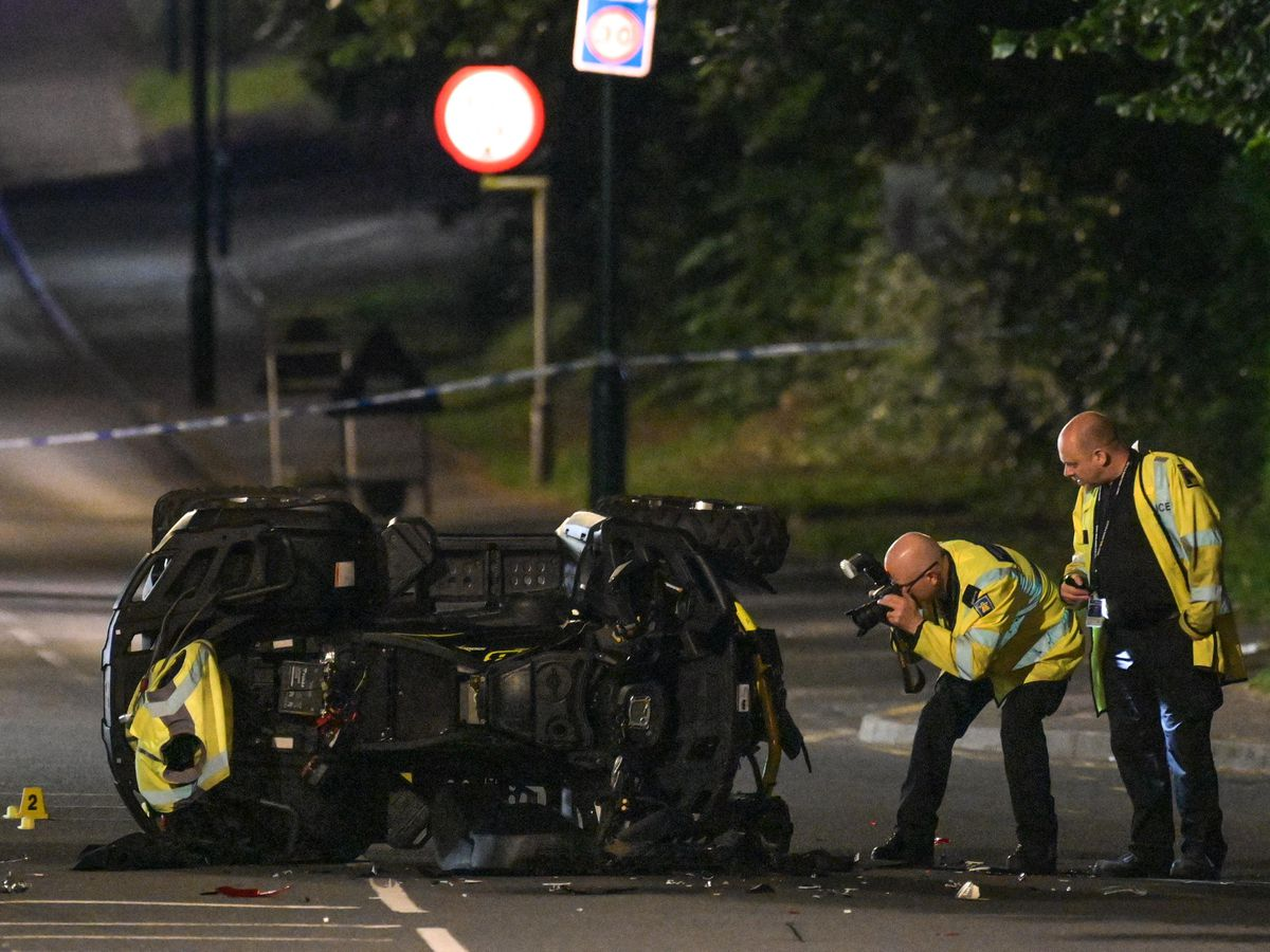 The aftermath of the crash on the A41 Warwick Road. Photo: SnapperSK