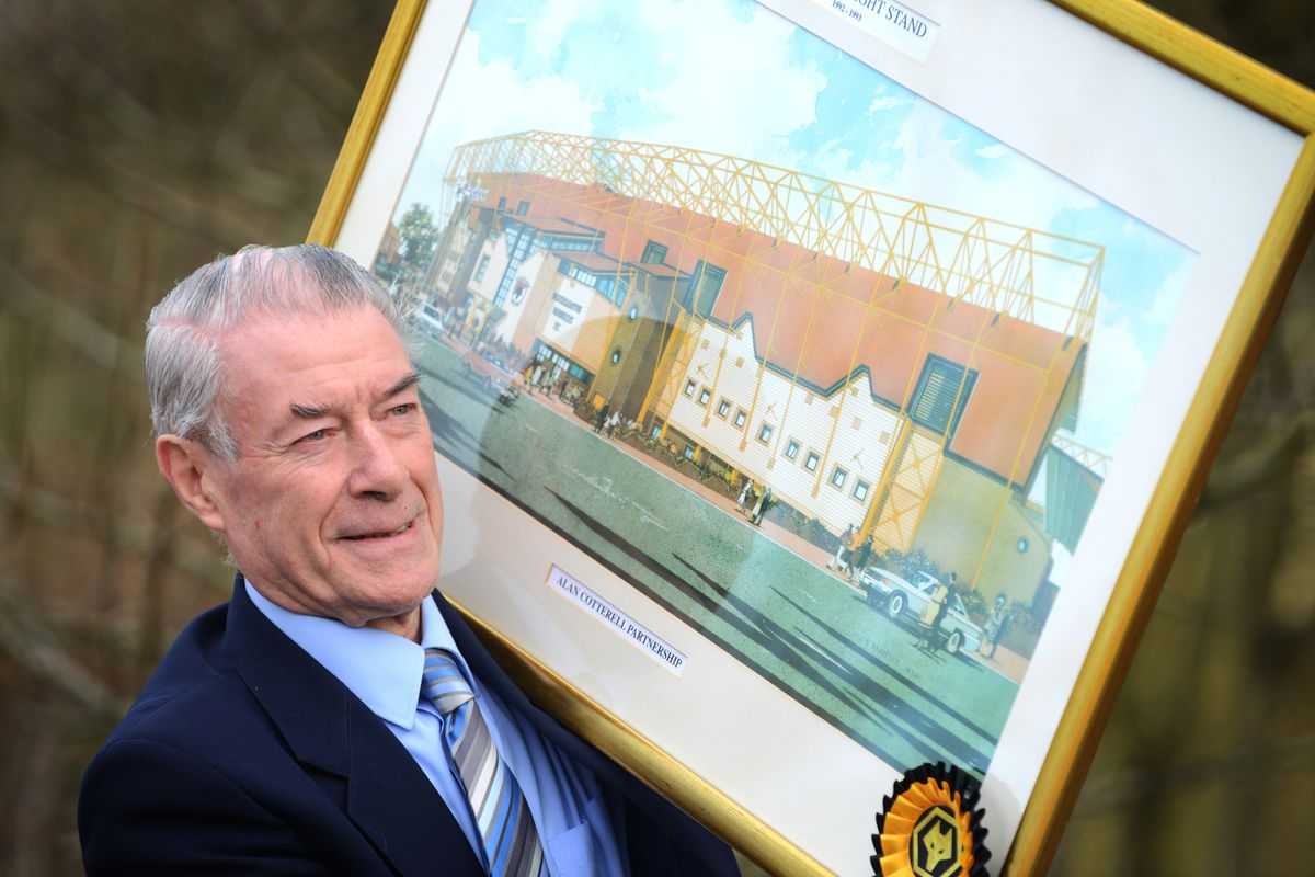 Holding an artists impression of the Billy Wright stand, Alan Cotterell