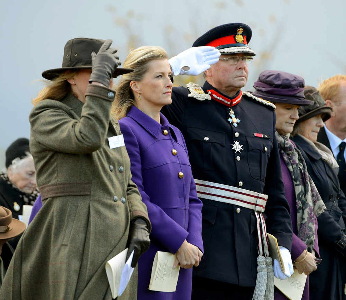 Countess of Wessex pictured during the unveiling of the Womens Land Army statue at National Memorial Arboretum, Alrewas.