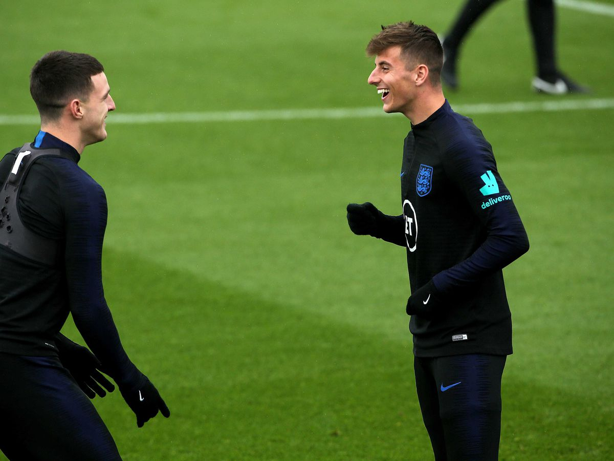 Mason Mount, right, is best friends with England team-mate Declan Rice