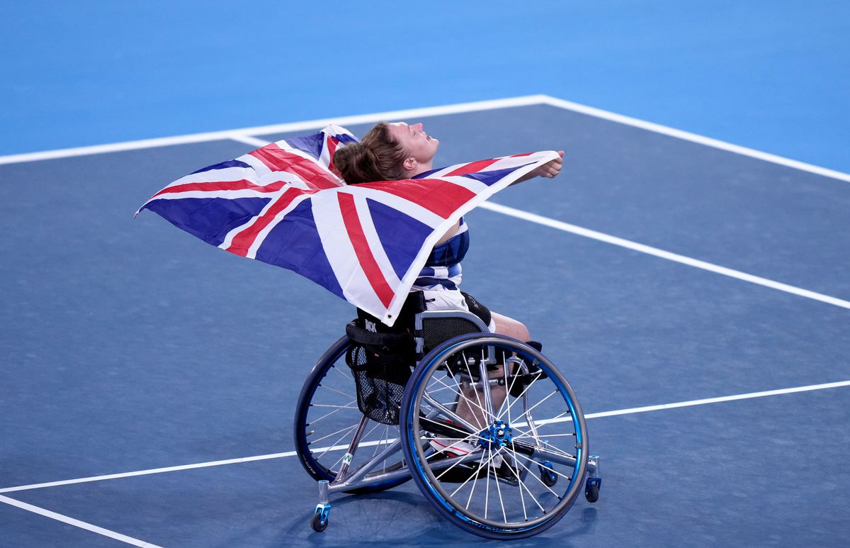 Great Britain's Jordanne Whiley reacts to winning the Women's singles bronze medal match  at the Ariake Tennis Park during day ten of the Tokyo 2020 Paralympic Games in Japan.