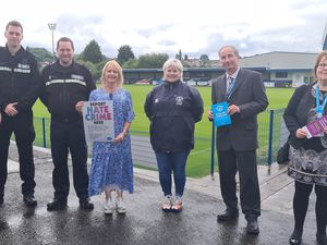 Police, club and council representativesPicture caption (left to right): Sarah Nixon, vulnerability officer for the police , Sgt Dan Fox, PC Jon Edwards, Karen Brookes, Halesowen Town director, Dominique Law, Halesowen Town welfare officer, Paul Grainger, health and wellbeing manager at Dudley Council and Sue Haywood, head of community safety at Dudley Council