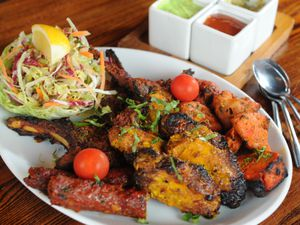 The small mixed grill included chicken tikka, chicken wings, lamb chop and sheesh kebab
