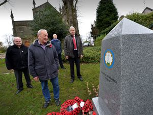 Bob Hill, chaplin to the Sedgley Royal British Legion, Sedgley ward councillor Michael Evans, reverend Guy Huwlett and local historian Martin Jones