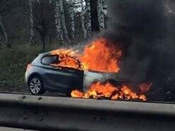 M54 closed as blaze destroys car