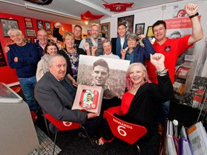 Duncan Edwards Foundation founder Rose Cook-Monk and Duncan Edward's cousin Lawrence Brownhill join guests at the launch of the play