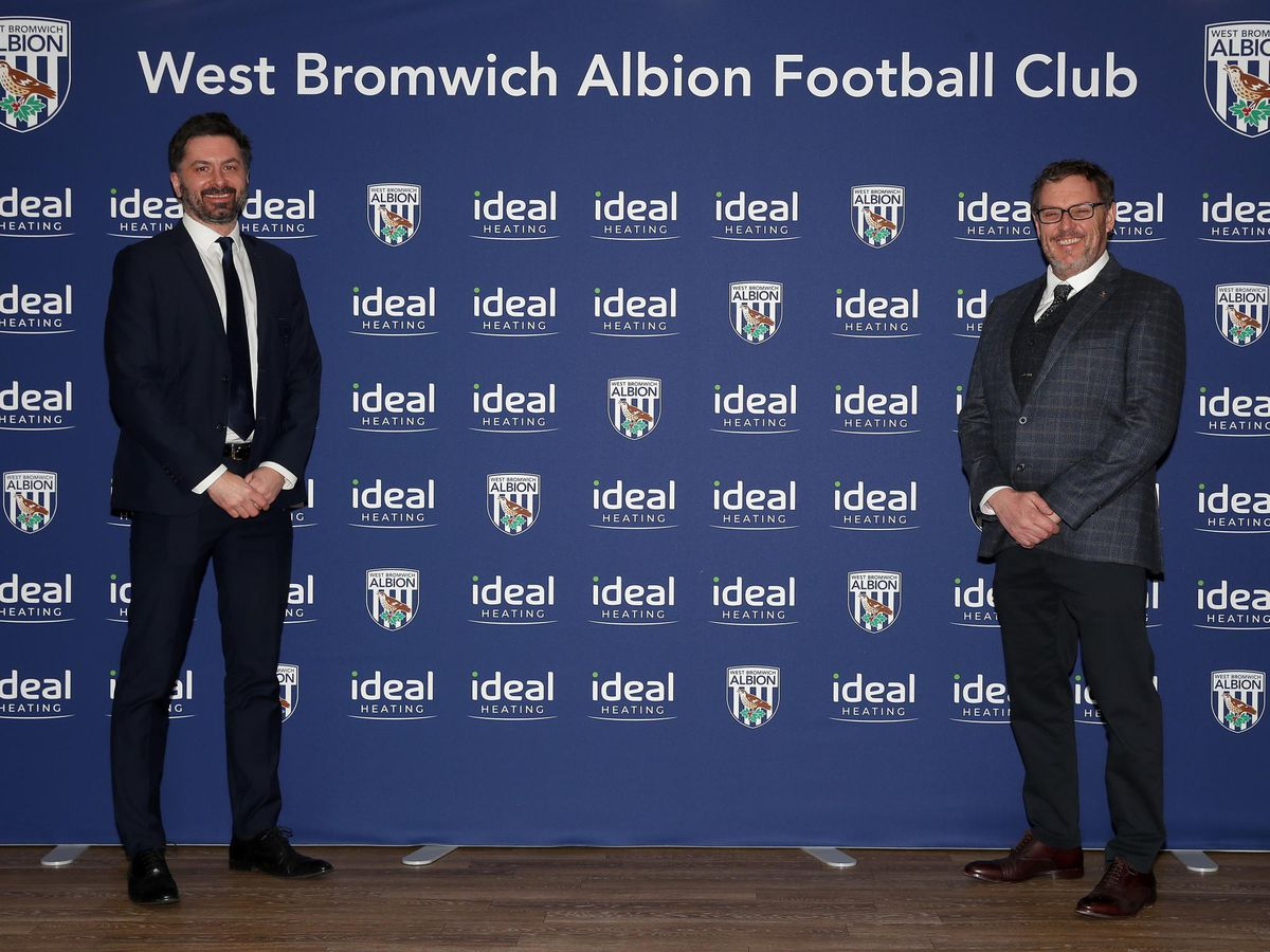 West Bromwich Albion chief commercial officer Simon King and Ideal Heating chief executive Shaun Edwards