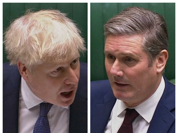 Boris Johnson and Sir Keir Starmer during PMQs