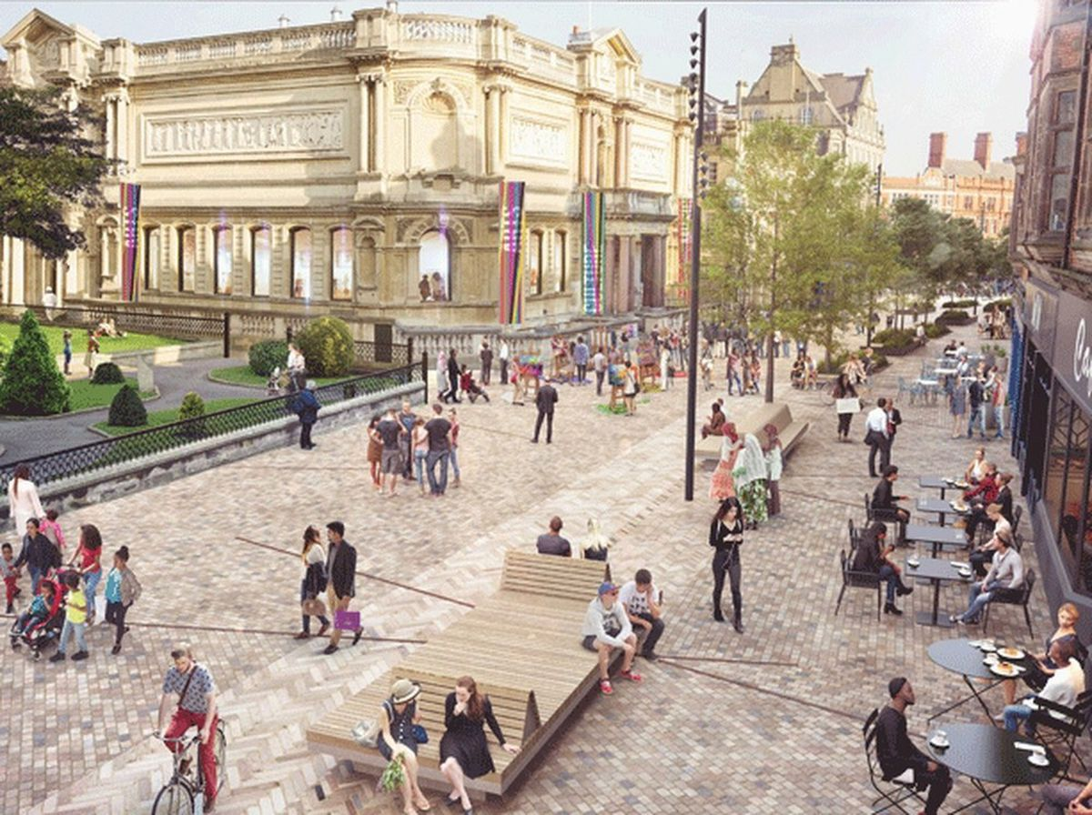 An artist's impression of what the paved Lichfield Street area could look like. Photo: Wolverhampton Council