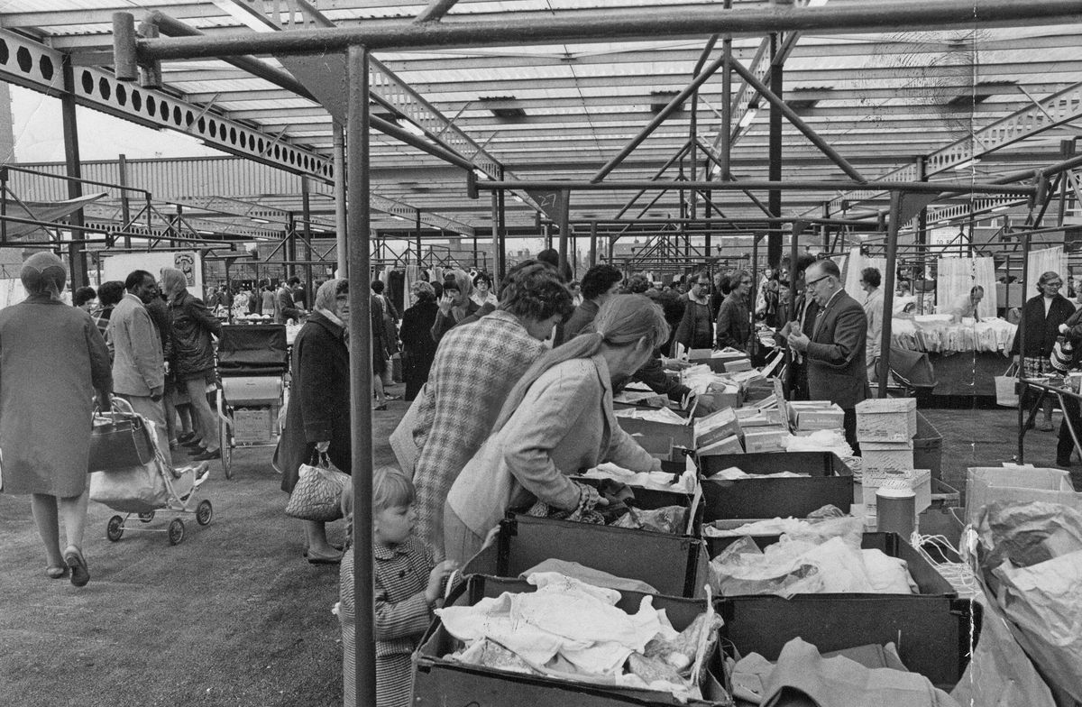 Wednesbury's market pictured on October 1, 1971, after it moved from Market Place