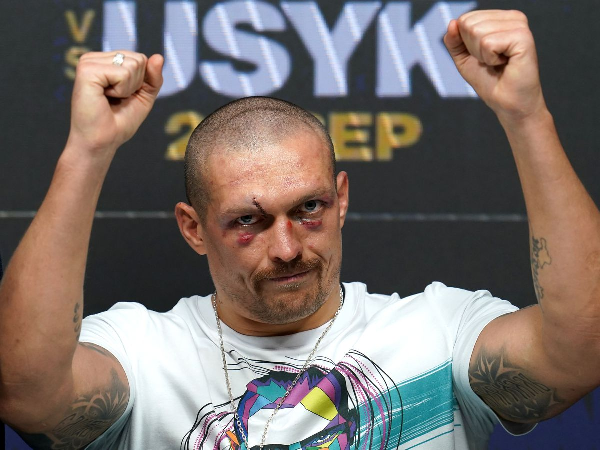 Oleksandr Usyk during a press conference after winning the WBA, WBO, IBF and IBO world heavyweight titles match against Anthony Joshua