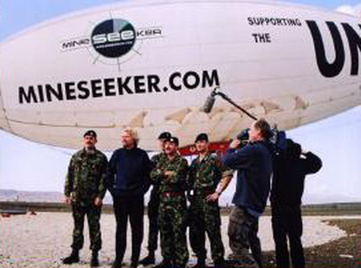 The Mineseeker Foundation blimp in action