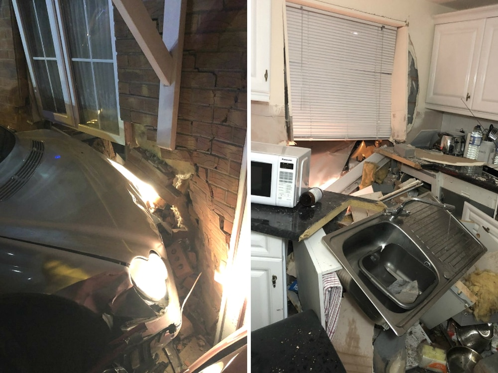 Kitchen wrecked as car ploughs into house in early-hours crash