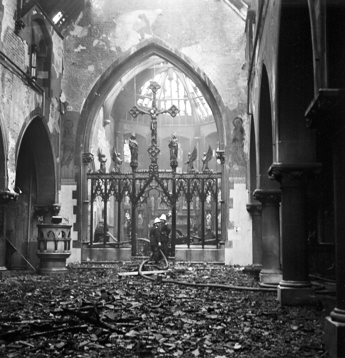 St Michael's and All Angels, Caldmore, Walsall distroyed by fire in 1964.