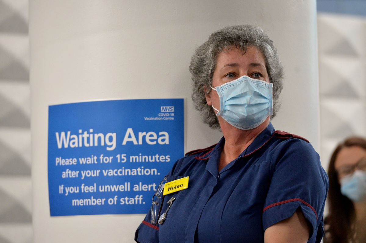 Mass vaccination centre opens at Millennium Point, Birmingham. Pictured, lead nurse Helen Gyves