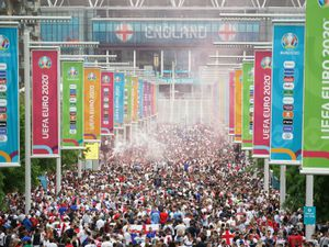The glorious sight of a busy Wembley Way