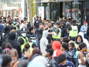 Police outside the Bullring where hundreds of people gathered to see YouTuber Canking. Photo: SnapperSK