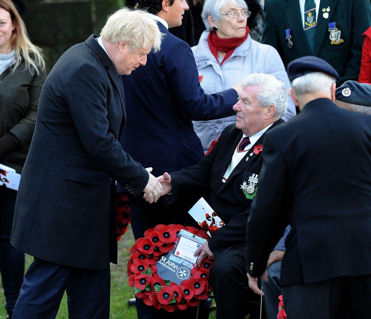 WOLVERHAMPTON COPYRIGHT EXPRESS&STAR TIM THURSFIELD 10/11/19.Prime Minister Boris Johnson visits Wolverhampton for the Armistice service, a visit to Express & Star HQ and then a visit to the Lych Gate Tavern..