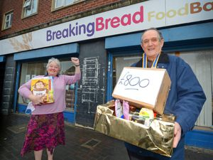 John Stockall, president of the Rotary Club of Wednesbury, and Lin Walford, from Breaking Bread Food Bank