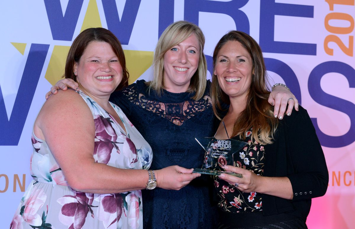 Winners  of New Business of the Year award, sponsored by Wolverhampton BID, was Slater's Bar. From left, Vicki Slater, BID director Cherry Shines and Fay Slater