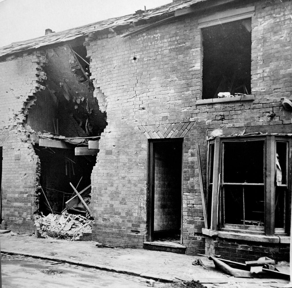 A house in Willenhall after bombing November 1940