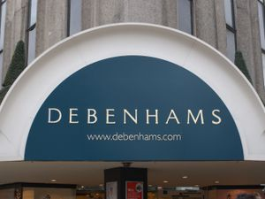 A Debenhams' shop sign
