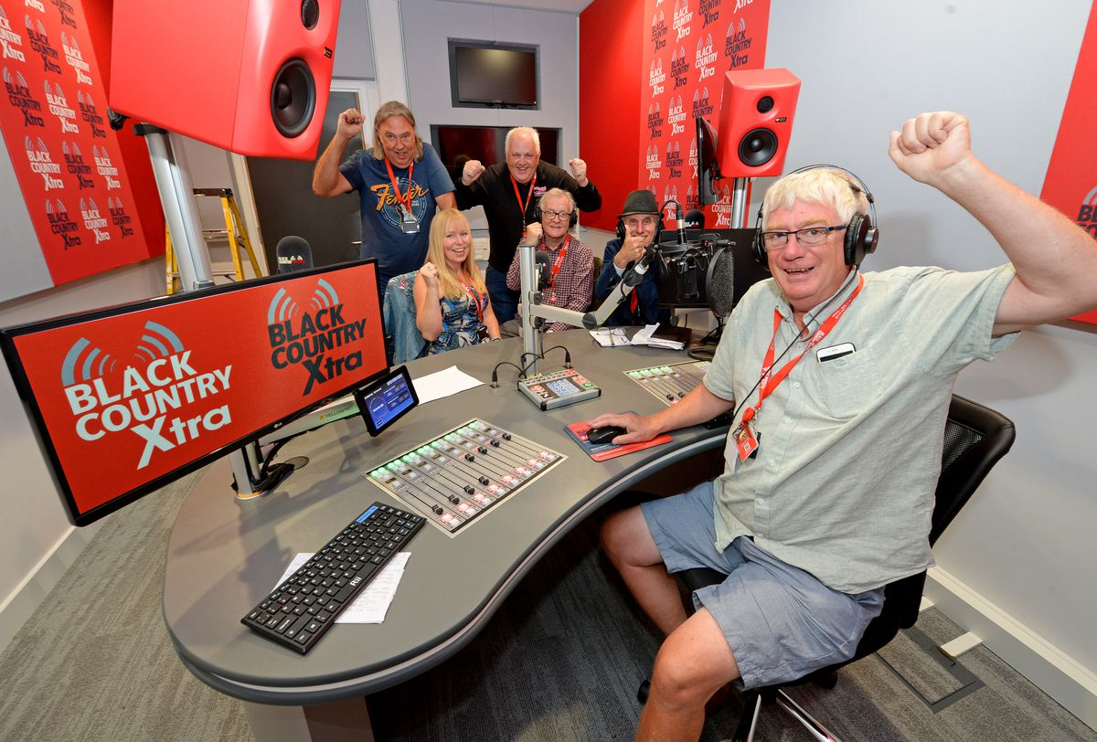 Celebrating the launch of the new station is chairman Keith Horsfall, with guests Peter Brookes and Liz Nicholls of band Rumour, station director Dave Brownhill, and Tom Stanton and Billy Spakemon of The Blue Granits
