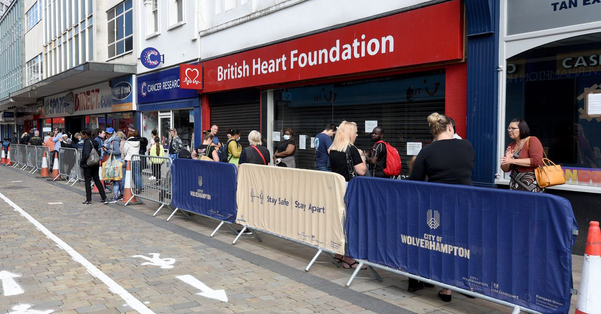 People have continued to queue for Sports Direct in Wolverhampton city centre