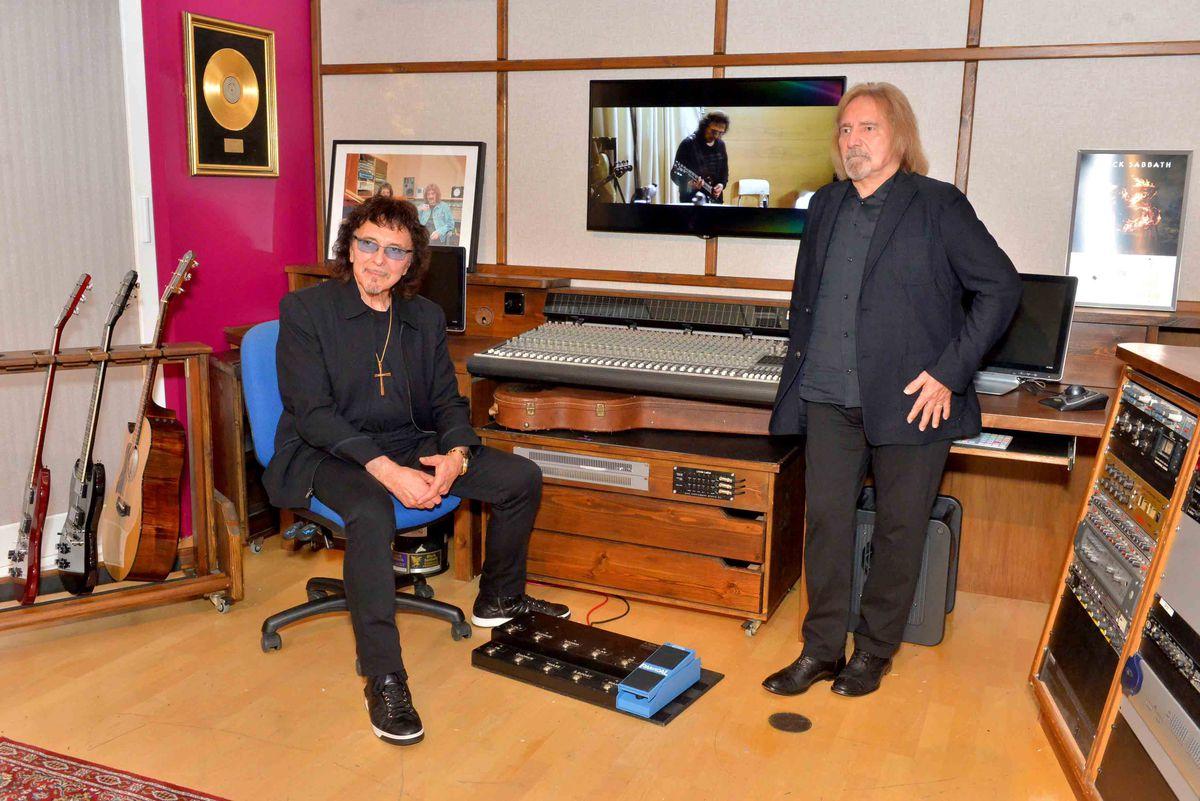 Tony and Geezer in a recreation of Tony's studio