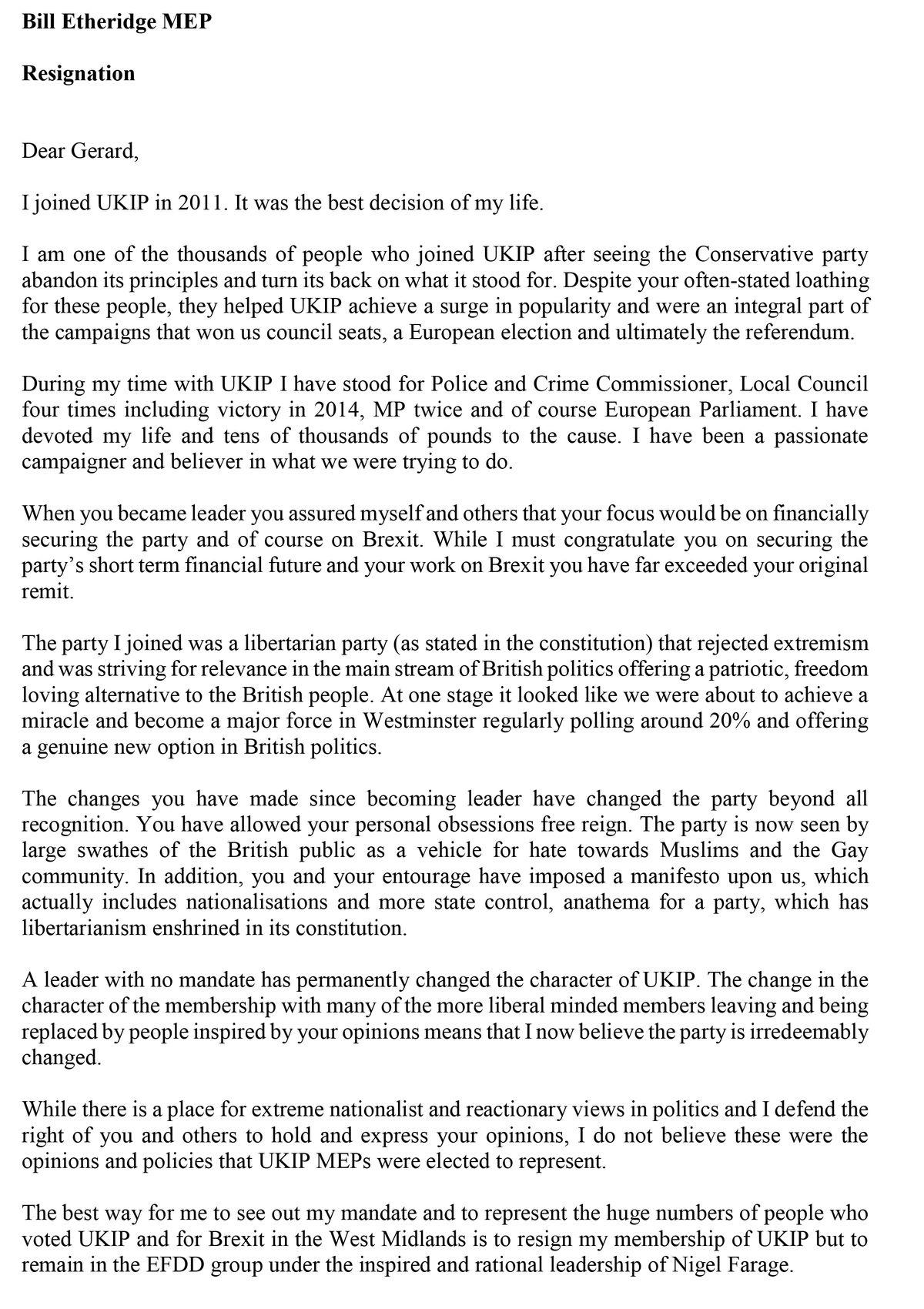 Part one of Bill Etheridge's resignation letter