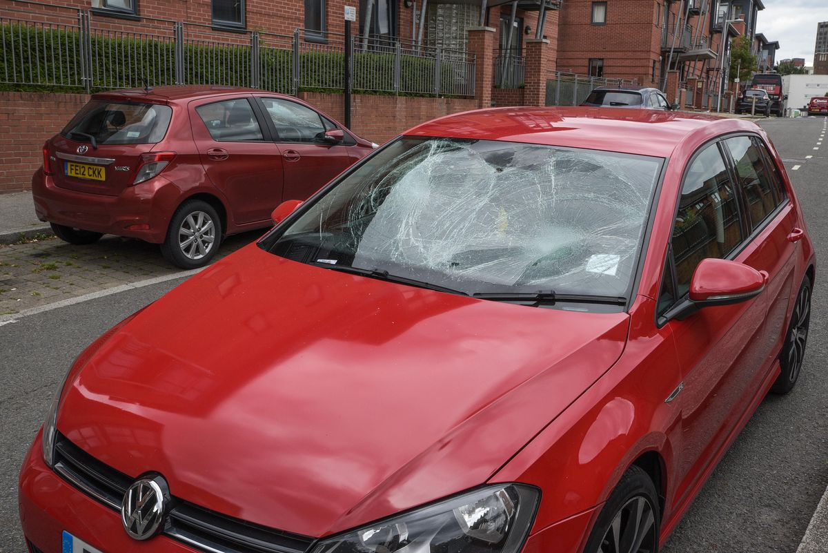 One of the vandalised cars. Photo: SnapperSK