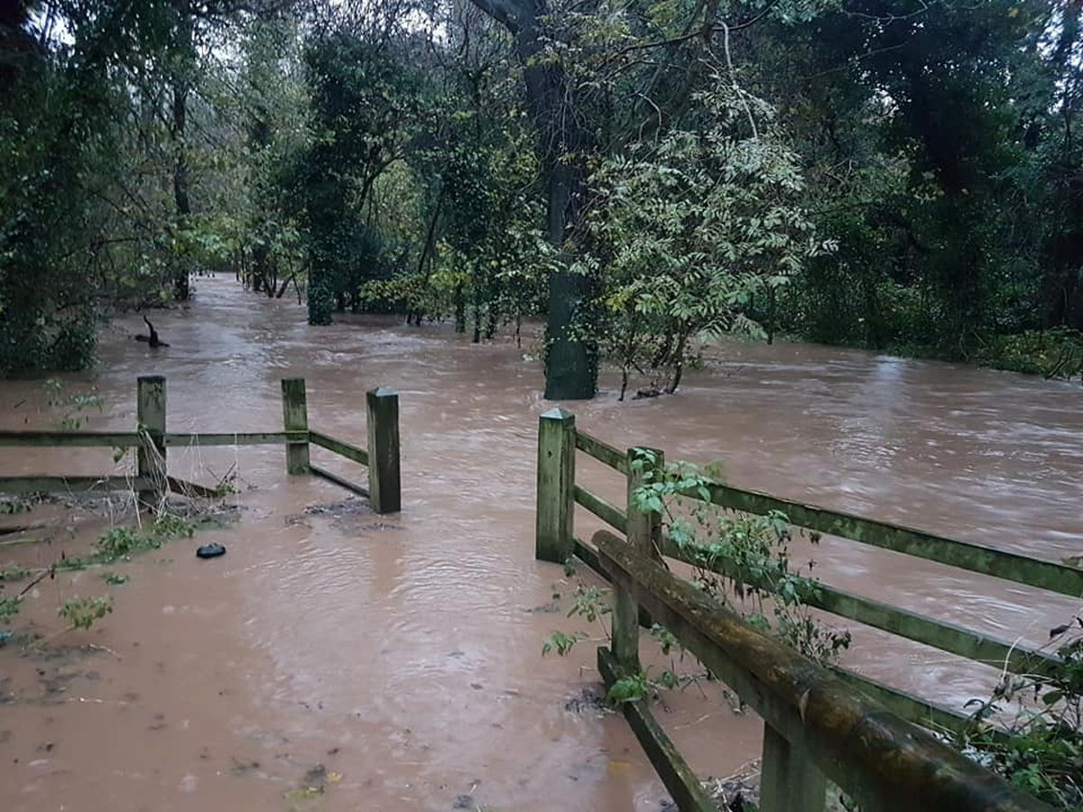 There was gushing water levels in the River Stour at Corngreaves Nature Reserve near the junction with Hawne Lane. Picture: Jodi Barras