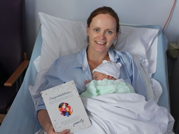Mother Sinead O'Callaghan with her second daughter who was born at 8.30am on Friday weighing 7 pounds 4 ounces