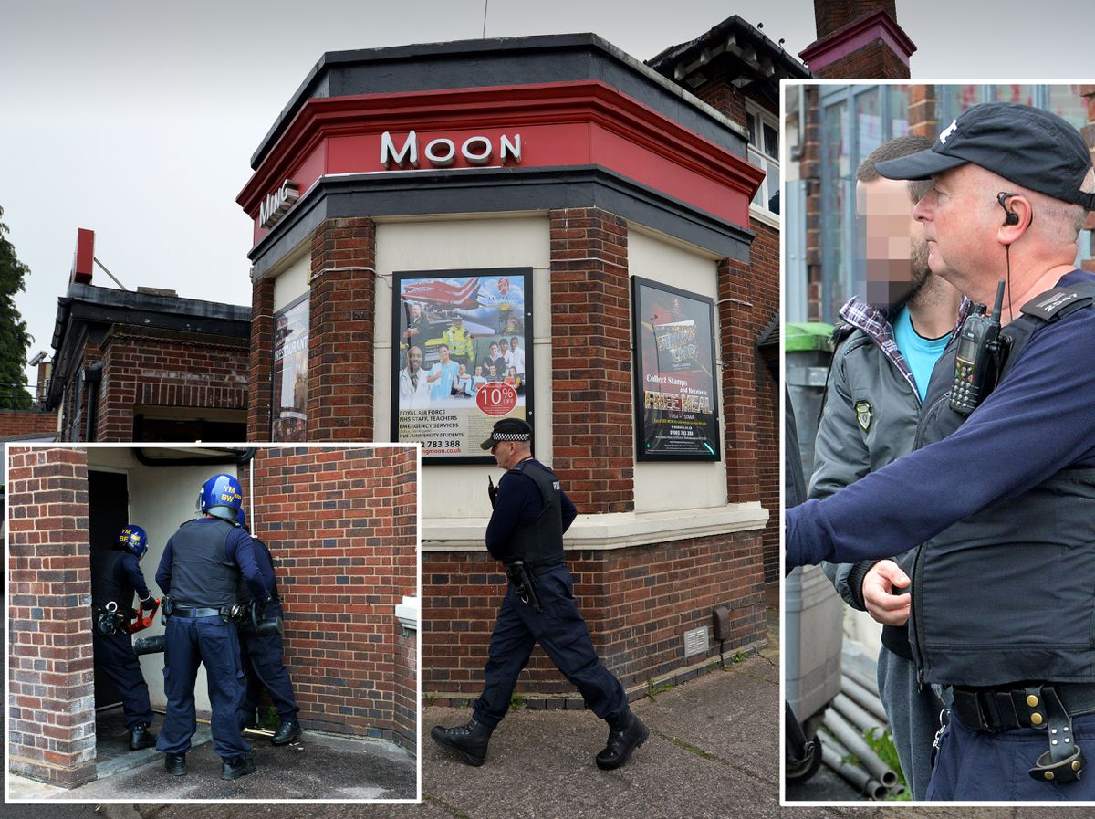 Police launch the raid on Ming Moon, and take away a man from inside