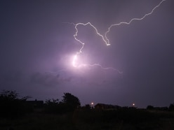 Thunderstorms arrive in the West Midlands with lightning and flooded houses