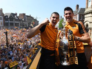 Conor Coady and Danny Batth celebrate with thousands of Wolves fans in Queen Square (AMA)