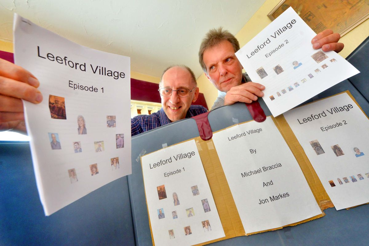 Mike Hands and Jon Markes pictured when they launched their serial Leeford Village