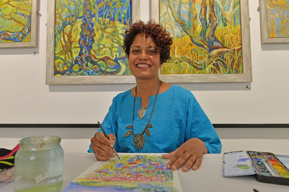 Artist in residence Kanj Nicholas at the Museum of Cannock Chase