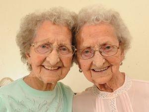 Twins (left) Lilian Cox and (right) Doris Hobday